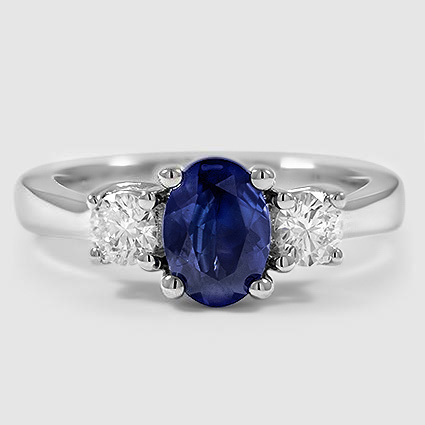 18K White Gold Sapphire Petite Three Stone Trellis Ring