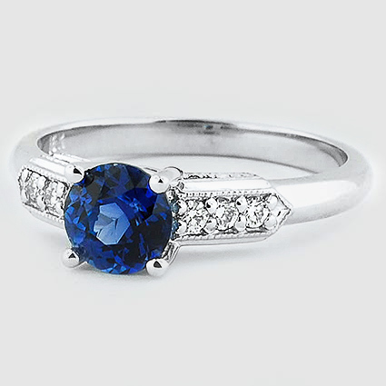 18K White Gold Sapphire Antique Nouveau Diamond Ring