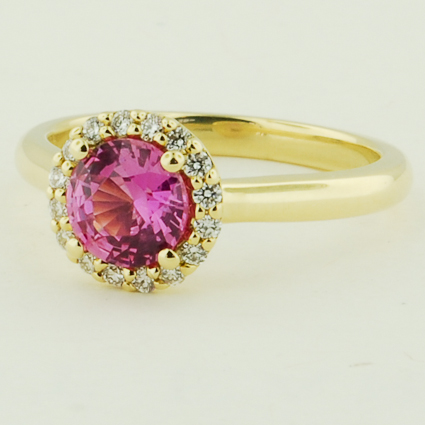 18K Yellow Gold Sapphire Halo Diamond Ring