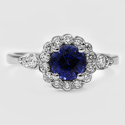 18K White Gold Sapphire Camillia Diamond Ring (1/4 ct. tw.)