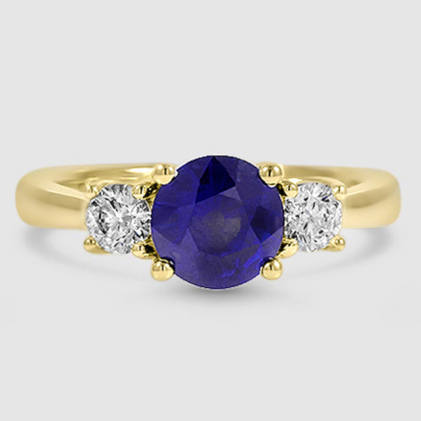 18K Yellow Gold Sapphire Petite Three Stone Trellis Ring