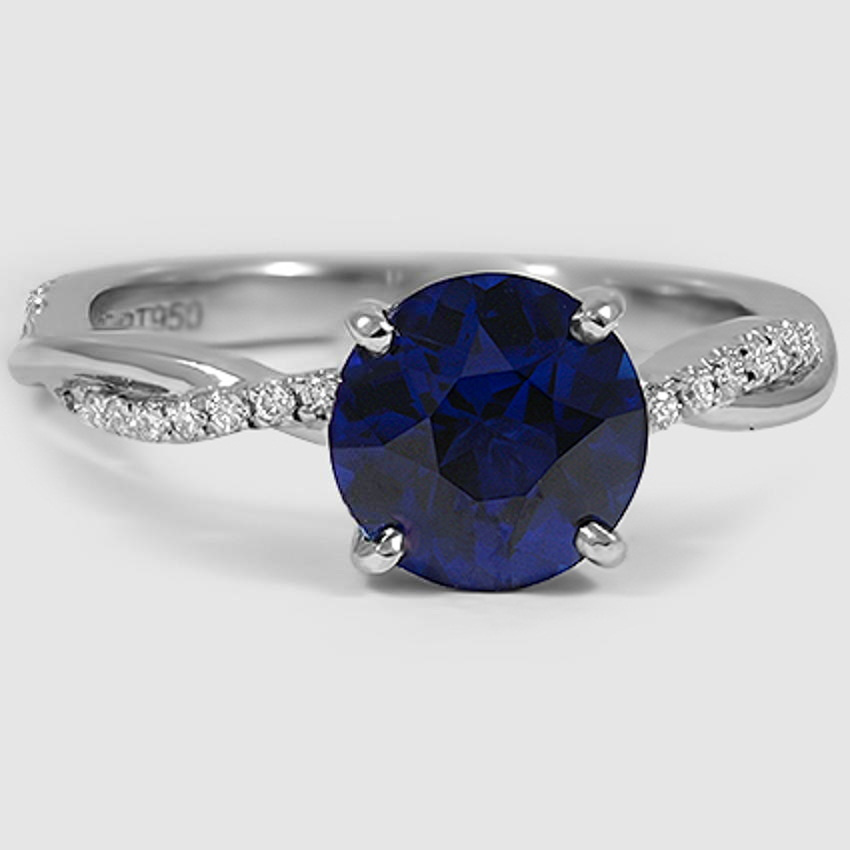 Platinum Sapphire Petite Twisted Vine Diamond Ring