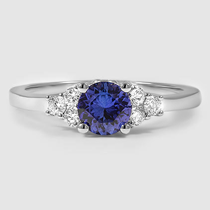 18K White Gold Sapphire Trio Diamond Ring