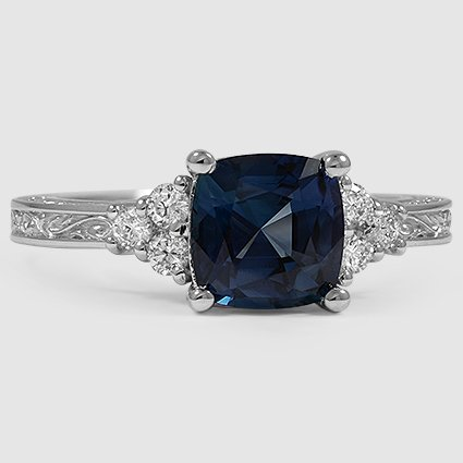 18K White Gold Sapphire Adorned Trio Diamond Ring