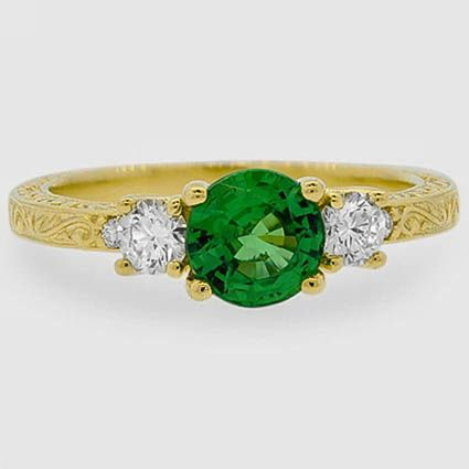 18K Yellow Gold Sapphire Antique Scroll Three Stone Trellis Ring (1/3 ct. tw.)