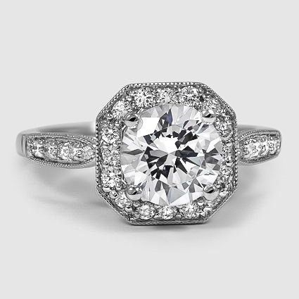 Platinum Victorian Halo Diamond Ring