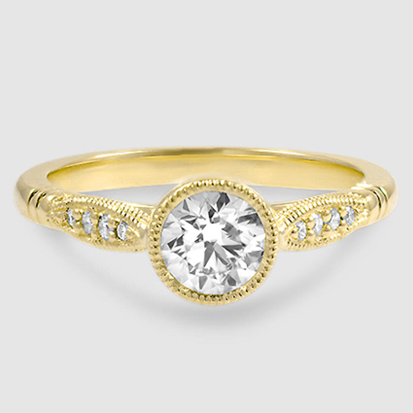 18K Yellow Gold Lyra Diamond Ring