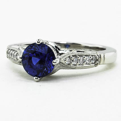 Platinum Sapphire Heirloom Diamond Ring
