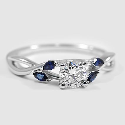 18K White Gold Willow Ring With Sapphire Accents