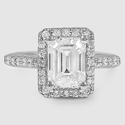 Platinum Fancy Halo Diamond Ring with Side Stones (2/5 ct. tw.)