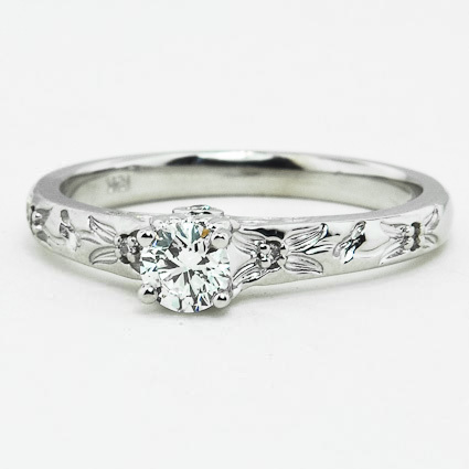 18K White Gold Flower Bud Diamond Ring