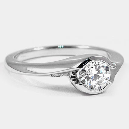 18K White Gold Cascade Ring with Diamond Accents