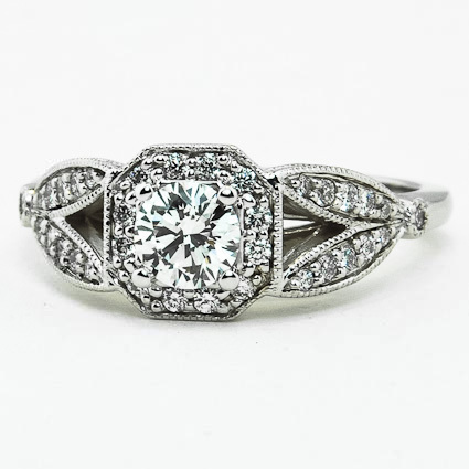 18K White Gold Luxe Victorian Split Shank Halo Diamond Ring