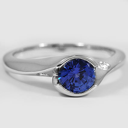 Platinum Sapphire Cascade Ring with Diamond Accents