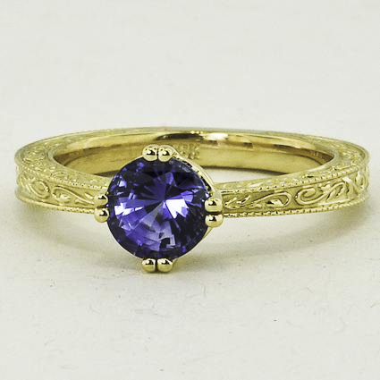 18K Yellow Gold Sapphire True Heart Ring