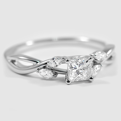 18K White Gold Willow Diamond Ring