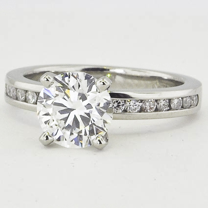 Platinum Petite Channel Set Round Diamond Ring