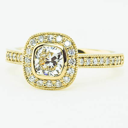 18K Yellow Gold Fancy Bezel Halo Diamond Ring with Side Stones (1/3 ct. tw.)
