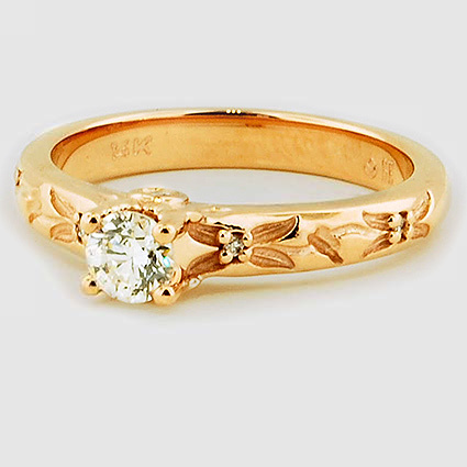 14K Rose Gold Flower Bud Diamond Ring