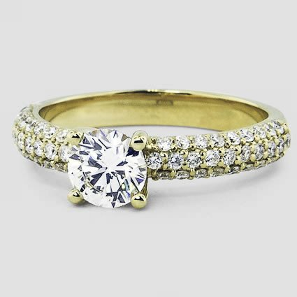 18K Yellow Gold Pavé Diamond Multi Row Ring (1/2 ct.tw.)