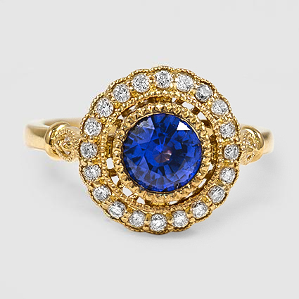18K Yellow Gold Sapphire Bella Diamond Ring