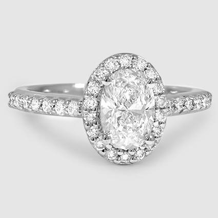 Platinum Fancy Halo Diamond Ring with Side Stones