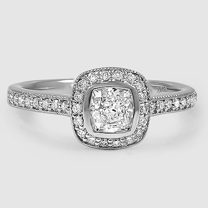 Platinum Fancy Bezel Halo Diamond Ring with Side Stones (1/3 ct. tw.)