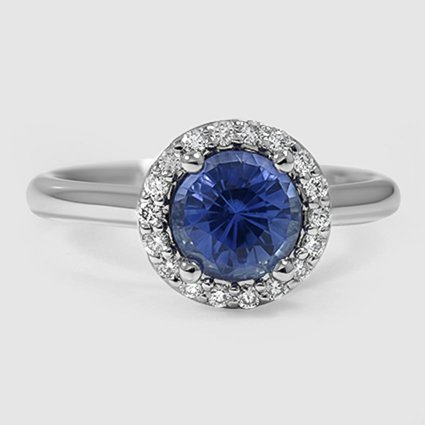 Platinum Sapphire Halo Diamond Ring (1/8 ct. tw.)