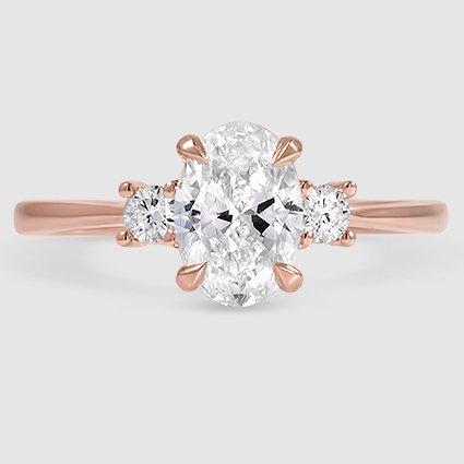 14k rose gold selene 091 carat oval diamond