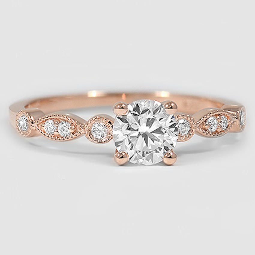 14K Rose Gold Tiara Diamond Ring