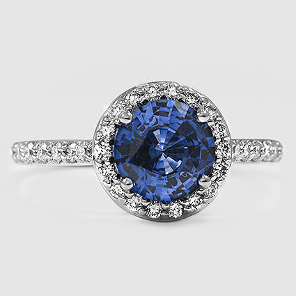 18K White Gold Sapphire Halo Diamond Ring with Side Stones (1/3 ct. tw.)