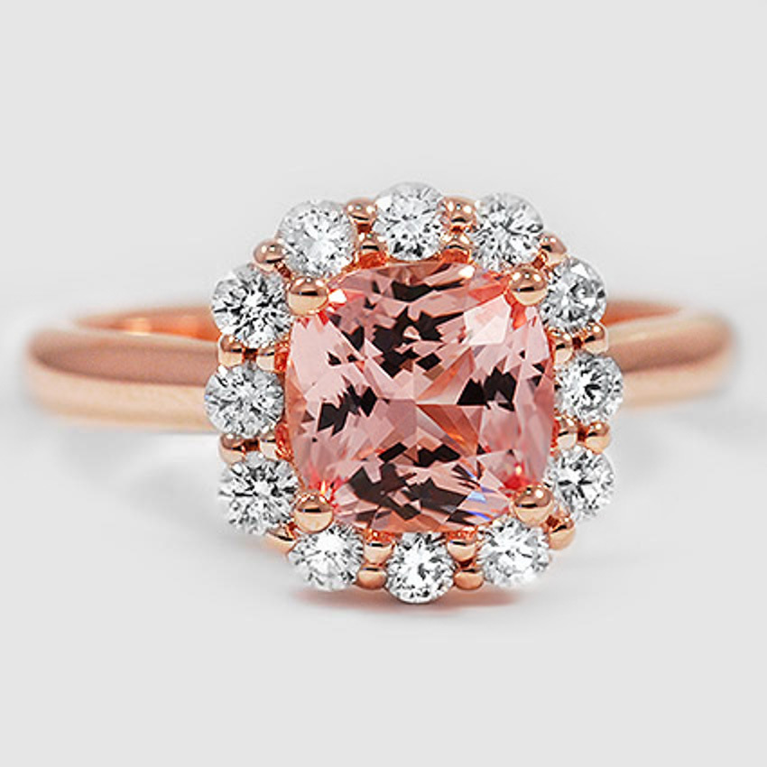 14K Rose Gold Sapphire Lotus Flower Diamond Ring (1/3 ct. tw.)