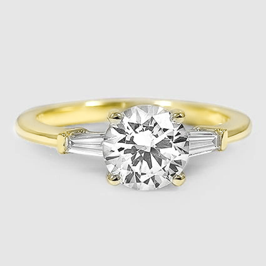 18K Yellow Gold Tapered Baguette Diamond Ring