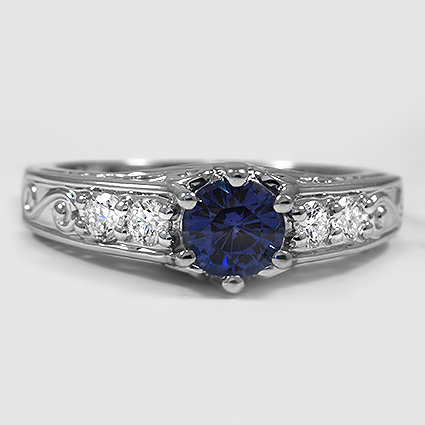 18K White Gold Sapphire Art Deco Filigree Diamond Ring