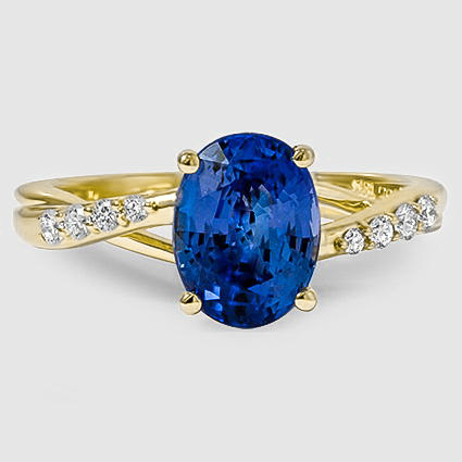 18K Yellow Gold Sapphire Chamise Diamond Ring