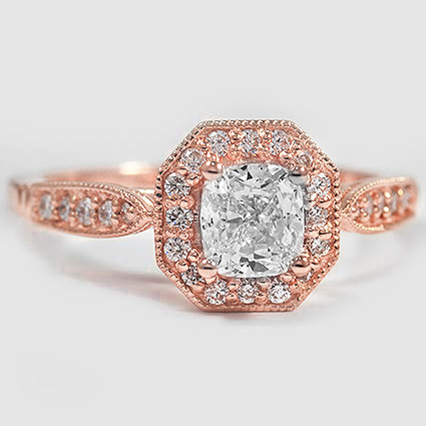 14K Rose Gold Victorian Halo Diamond Ring