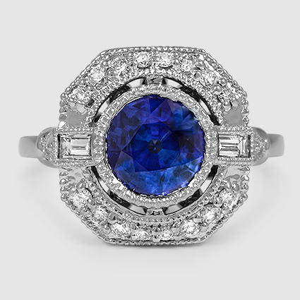 18K White Gold Sapphire Ostara Diamond Ring (1/4 ct. tw.)