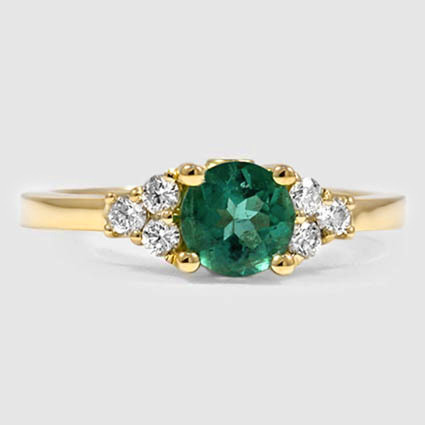 18K Yellow Gold Sapphire Trio Diamond Ring