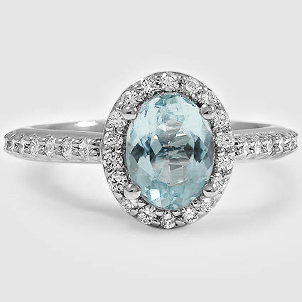 Platinum Sapphire Fancy Halo Diamond Ring with Side Stones