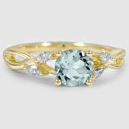 18K Yellow Gold Sapphire Willow Diamond Ring
