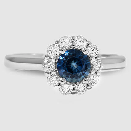 18K White Gold Sapphire Lotus Flower Diamond Ring (1/3 ct. tw.)