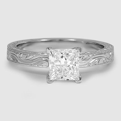 18K White Gold Hand-Engraved Laurel Ring