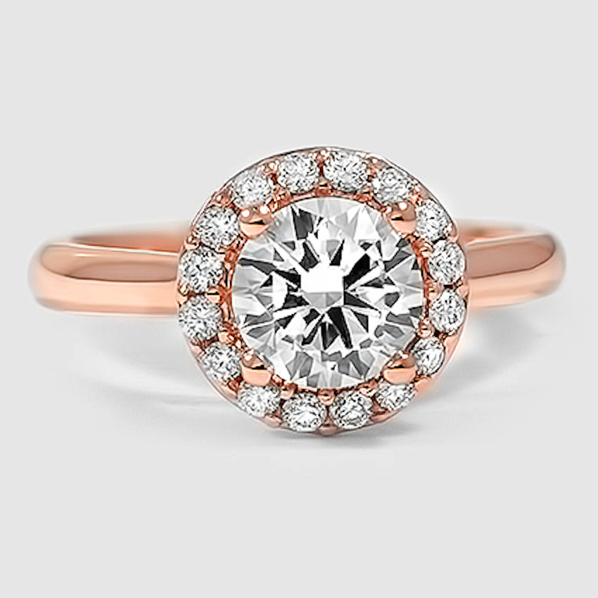 14K Rose Gold Halo Diamond Ring