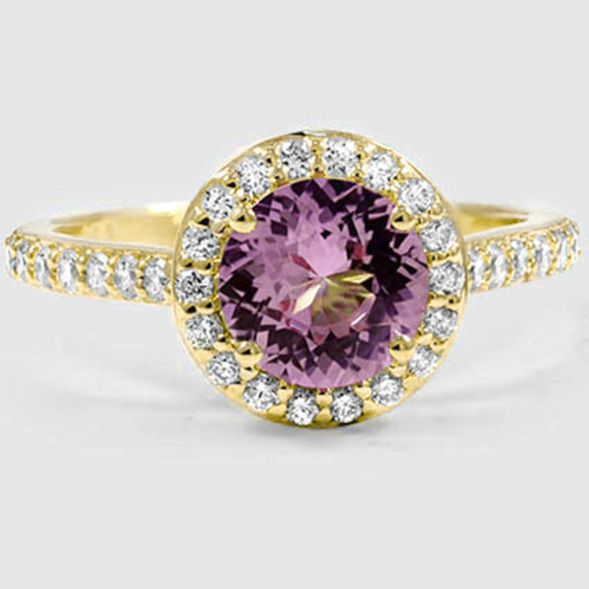 18K Yellow Gold Sapphire Halo Diamond Ring with Side Stones (1/3 ct. tw.)