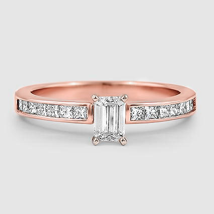 14K Rose Gold Petite Channel Set Princess Diamond Ring (1/3 ct. tw.)