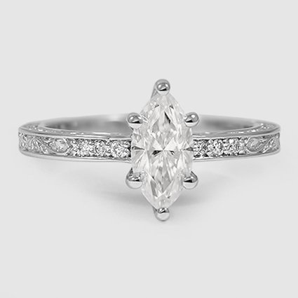 18K White Gold Sapphire Delicate Antique Scroll Diamond Ring