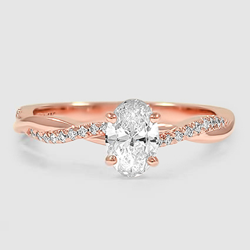 14K Rose Gold Petite Twisted Vine Diamond Ring