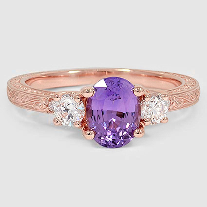14K Rose Gold Sapphire Antique Scroll Three Stone Trellis Ring (1/3 ct. tw.)