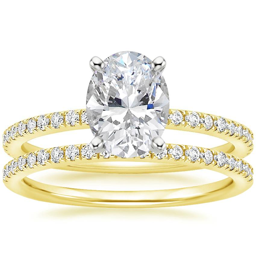 18K Yellow Gold Luxe Ballad Diamond Ring (1/4 ct. tw.) with Ballad Diamond Ring (1/6 ct. tw.)
