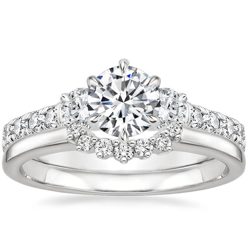 Platinum Gramercy Diamond Ring (3/4 ct. tw.) with Crescent Diamond Ring
